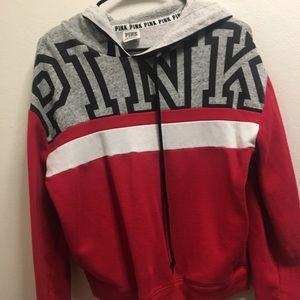 PINK Colorblock Hoodie Sz S